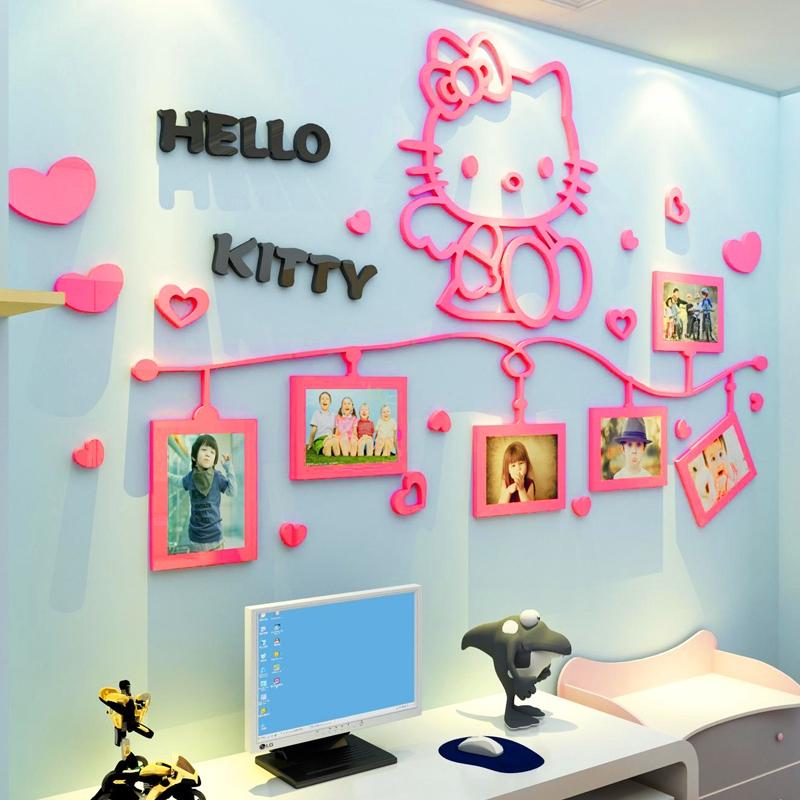 Stiker Dinding Bahan Mudah Dilepas Gambar Hello Kitty 3d Untuk Dekorasi Kamar Anak Perempuan Shopee Indonesia