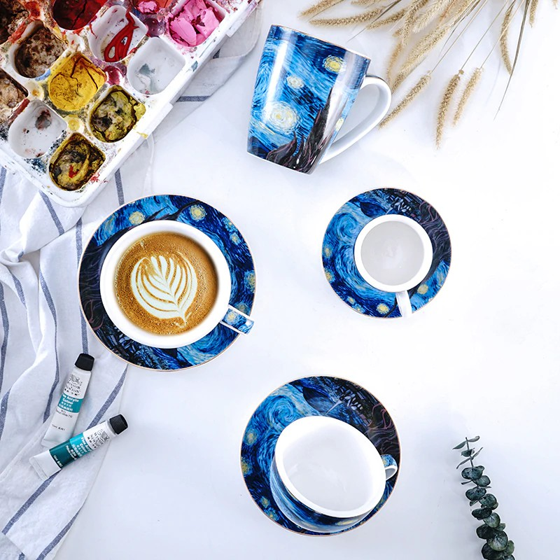 Famouspaint Van Gogh The Starry Night Series Cappuccino Latte Coffee Mug Espresso Cup Art Shopee Indonesia