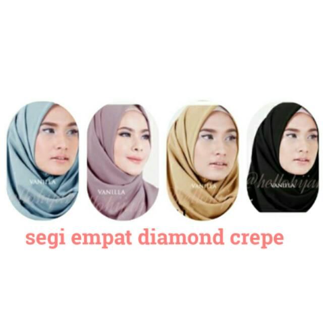 Simple Instan Hijab Segi Empat Kerudung Kantor Instant Diamond Crepe