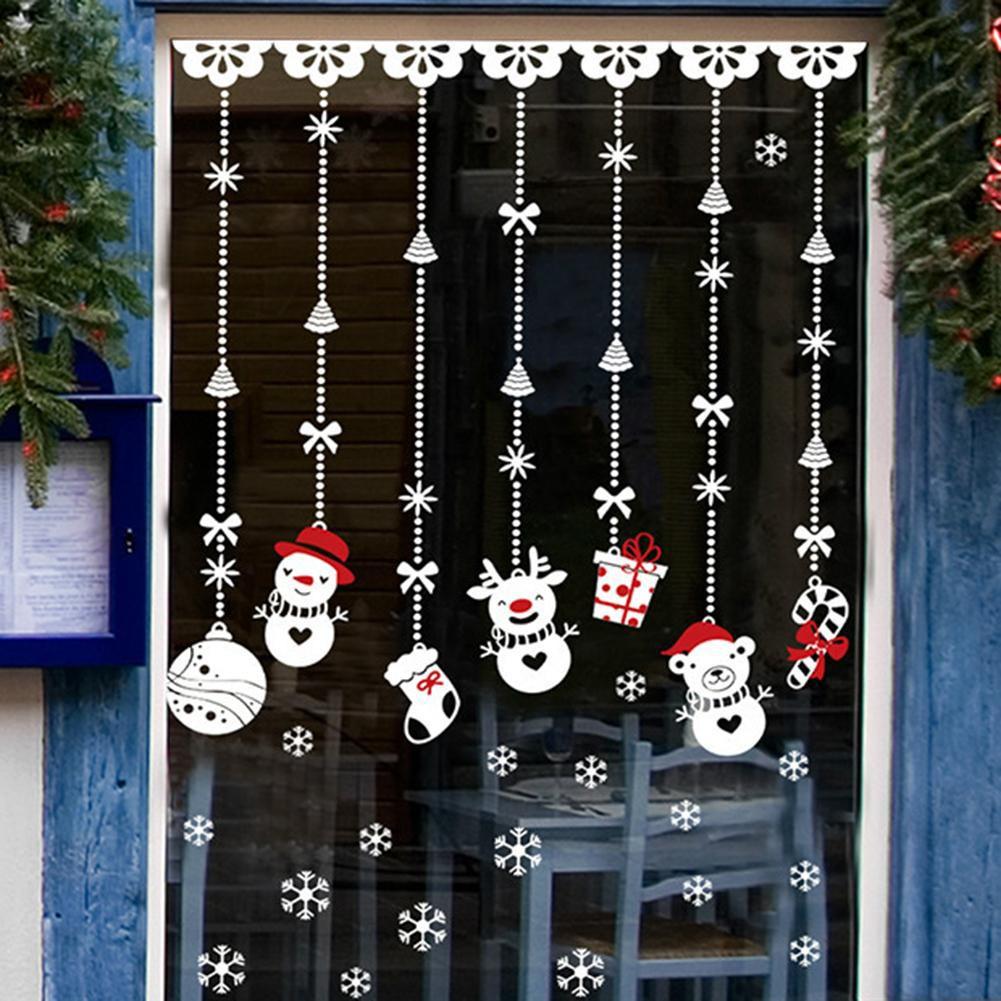 Stiker Dinding Desain Snowman untuk Dekorasi Natal