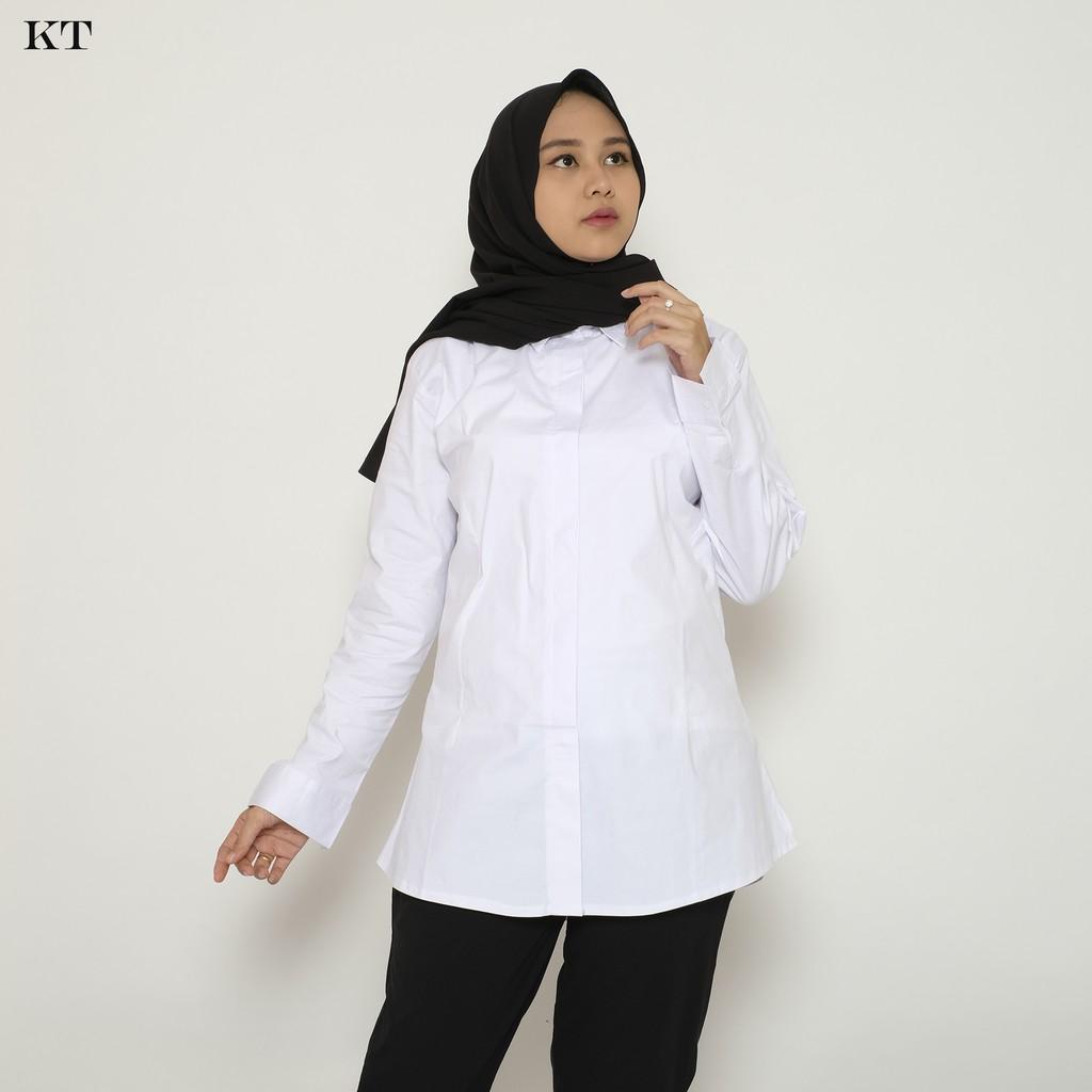 Kemeja Batik Wanita Jumbo: HaymeeStore Kemeja Putih Polos Wanita Baju Kantor Formal
