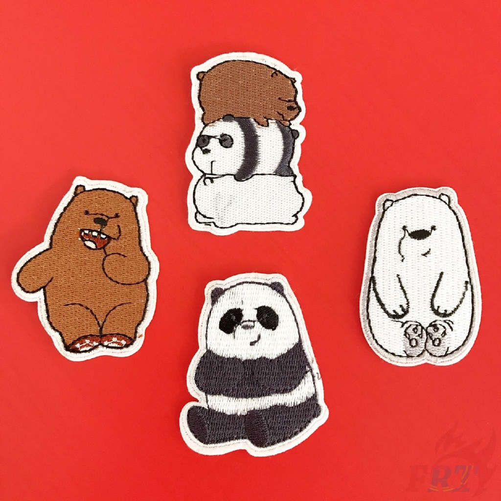 Cartoon We Bare Bears Patch 1pc Grizzly Panda Ice Bear Diy Sew On Iron On Patch Shopee Indonesia