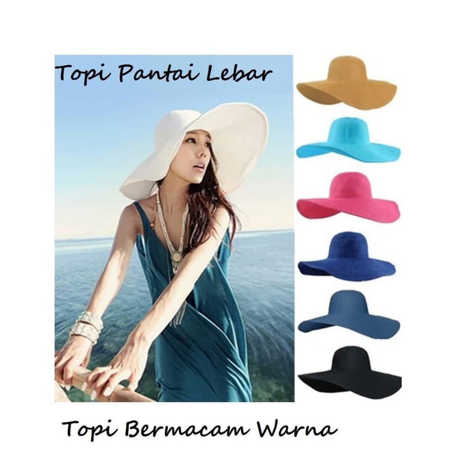 Tren Ho22529W Jual Topi Pantai Wanita Sun Beach Hat Big Colour Murah ... a3bc446f64