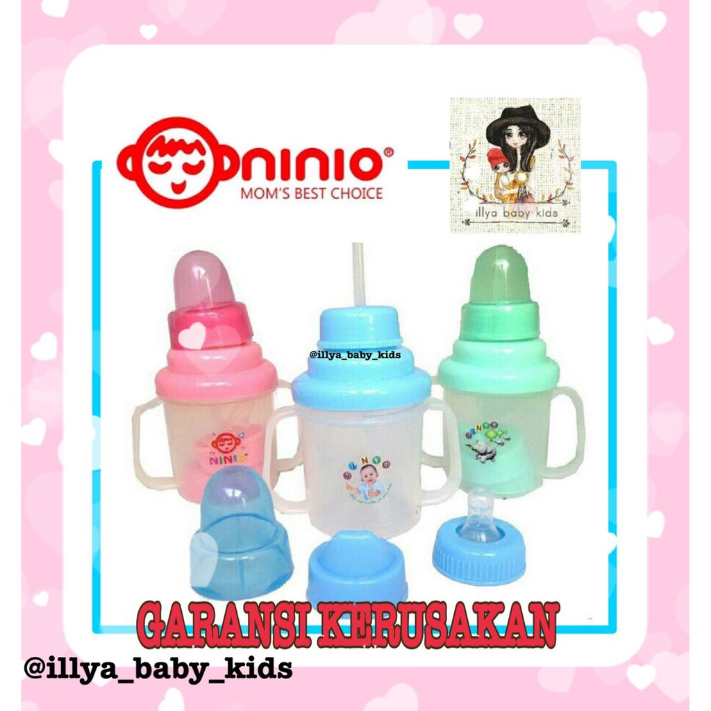 Training Cup 3in1 Ninio Shopee Indonesia With Straw And Handle Botol Minum