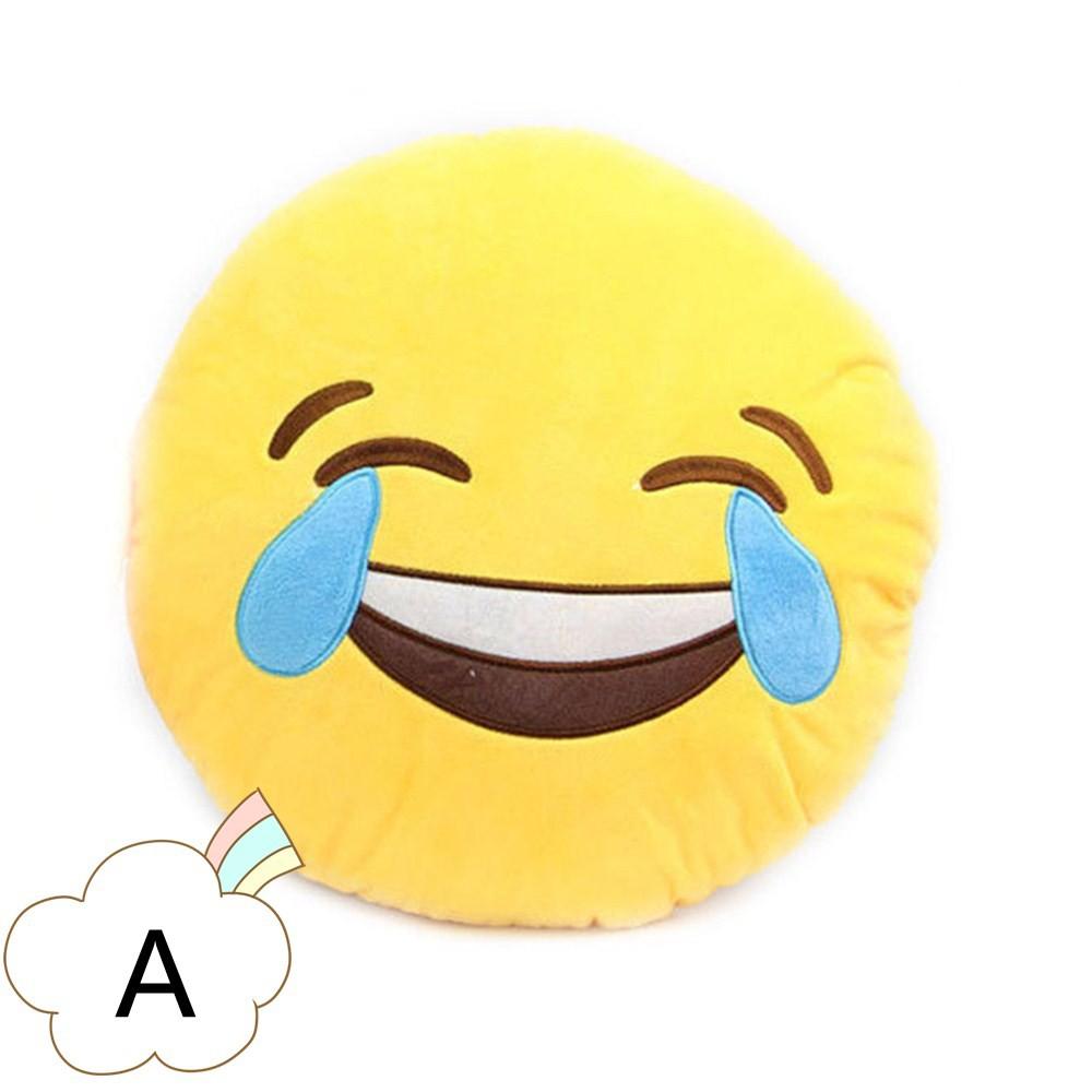 Bantal Boneka Plush Dengan Bentuk Bulat Dan Gambar Emoji Lucu