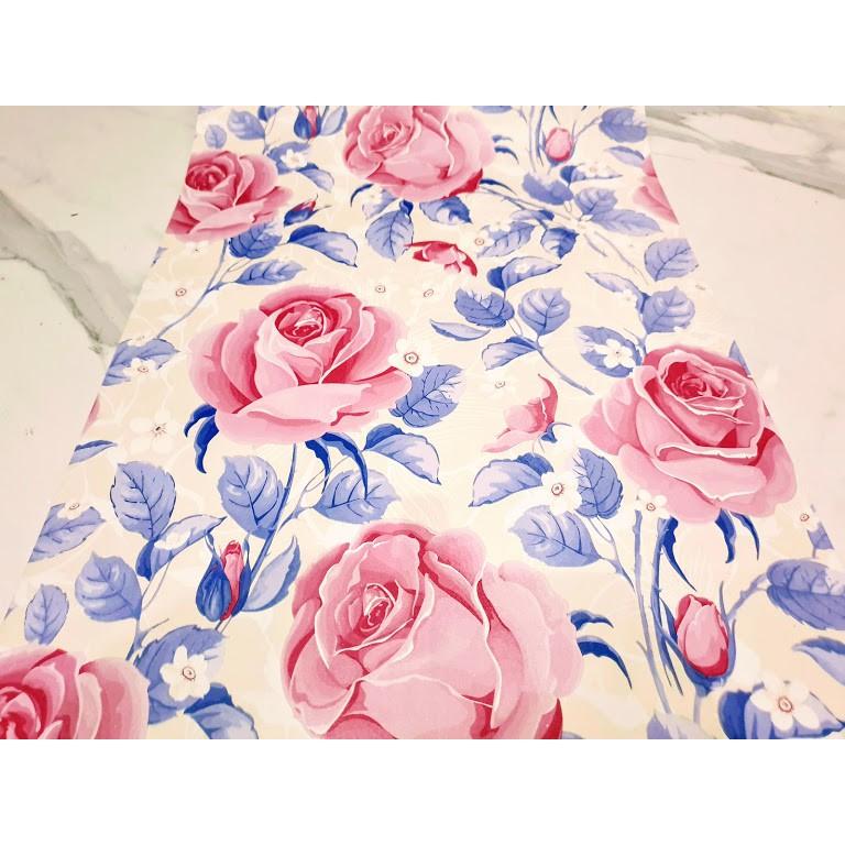 Grosir Termurah Wallpaper Sticker Motif Bunga Mawar Pink Cantik Berdaun Ungu Manis Shopee Indonesia