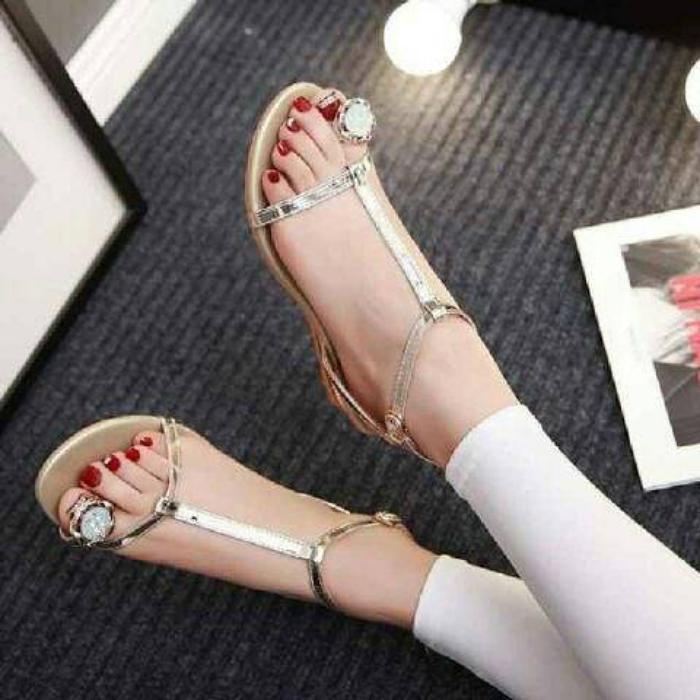 f437559cb35 Sendal Sandal Wedges Gladiator Cewek Wanita Hak Tinggi Pesta Kerja Kantor  Formal Kondangan