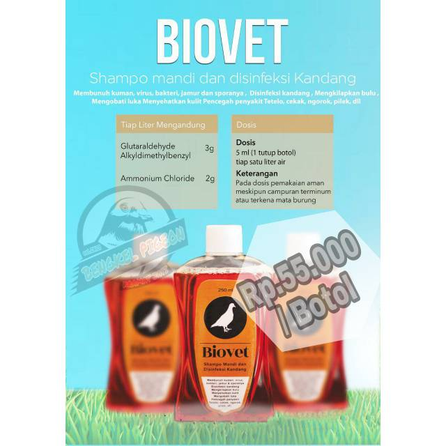 Shampoo shampo sampo burung dara merpati biovet vitares lomba kolongan balap tomprang pos