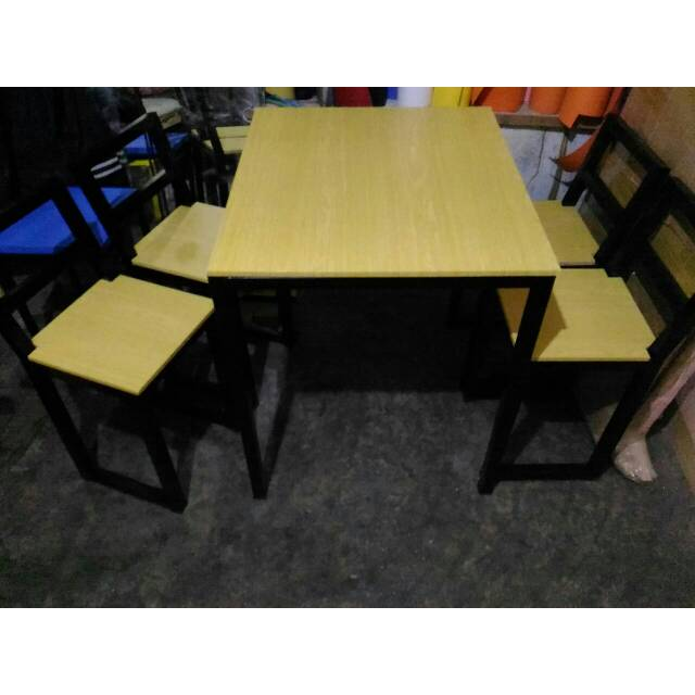 Paket 1 Set Meja Kursi Cafe Minimalis Industrial Meja Kursi Makan Resto Mini Bar Foodcourt Shopee Indonesia