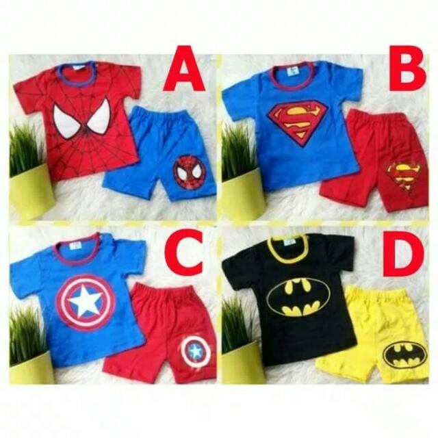 Superhero/Fashion anak bayi Baju setelan anak baju bayi baju anak karakter superman batman spiderman | Shopee Indonesia