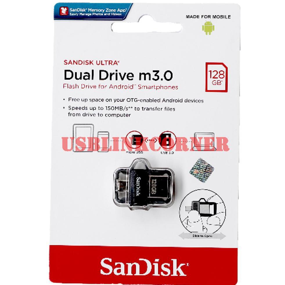 Sandisk Ultra Dual Drive M3.0 128Gb Usb 3.0 Otg Flash Drive ...