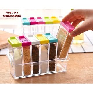 6in1 Rak Tempat Bumbu RA772 Spices Storage Serbaguna (6pcs + 1 Holder)