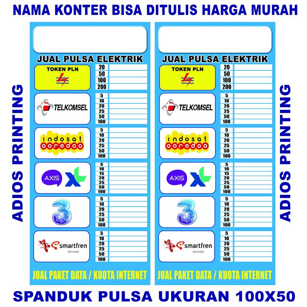 Spanduk / Banner / Backdrop Konter Pulsa  Harga Bisa Tulis Sendiri 50x100    Shopee Indonesia