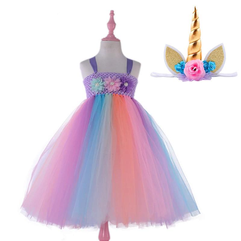 Kids Girls Unicorn Rainbow Dress Cosplay Costume Birthday Princess Photo Shoot