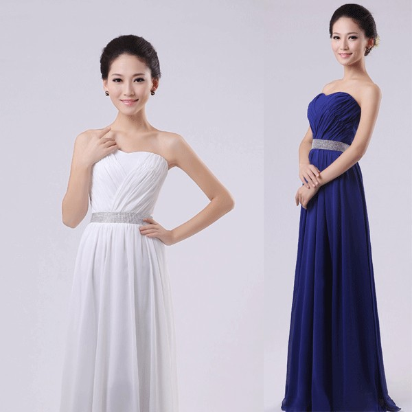 Ld 077 Gaun Pesta Panjang Warna Biru Simple Style Tanpa Lengan