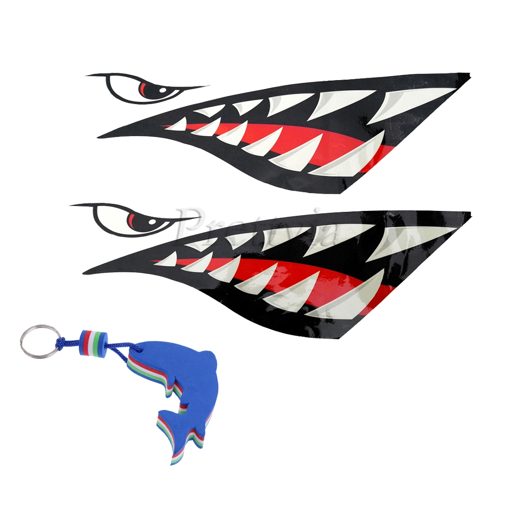 Magideal 2x kayak shark tooth decals stickers dolphin floating key chain