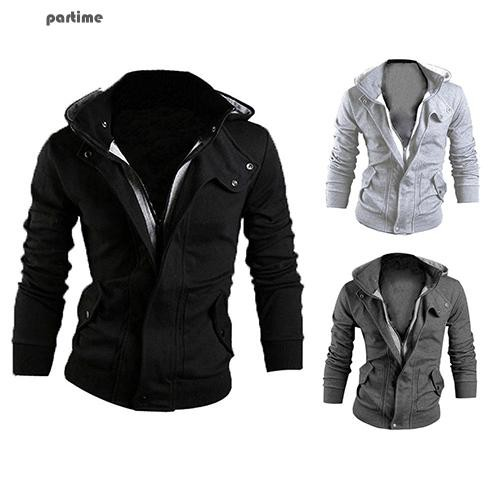 Men's Fashion Slim Hoodie Warm Hooded Sweatshirt Coat Pockets Jacket Outwear | Shopee Indonesia