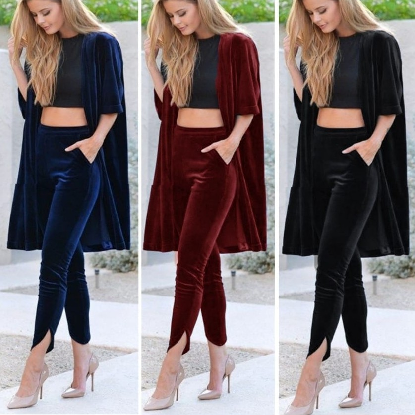 Ss Shape Pants Bludru Celana Panjang Bahan Bludru High Quality Shopee Indonesia