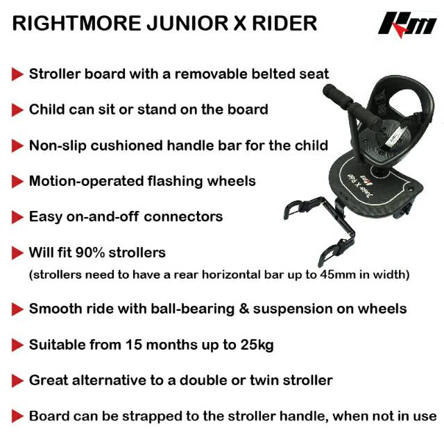 Stok Display SALE! Rightmore Junior X Rider - Stroller Board  Double Tandem  Twin