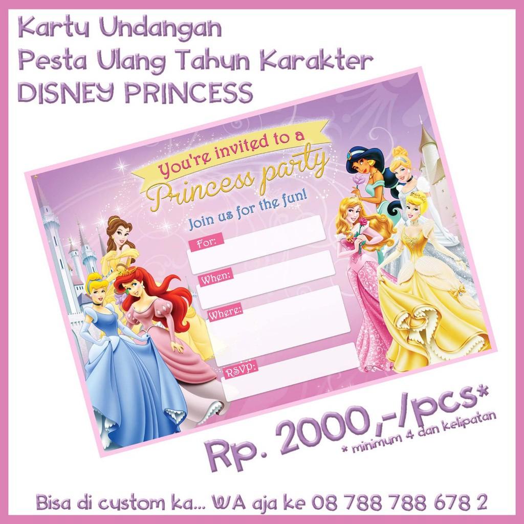 Kartu Undangan Disney Princess Birthday Invitation Card Ulang Tahun
