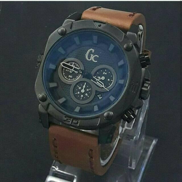 Jam tangan pria, Guess collection kulit, Chrono & tgl aktif/on, kw
