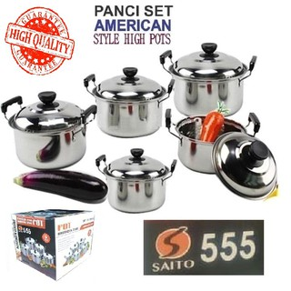 Panci Set 5 Pcs american style high pots Stainless. cookware set 5 pcs full stainless