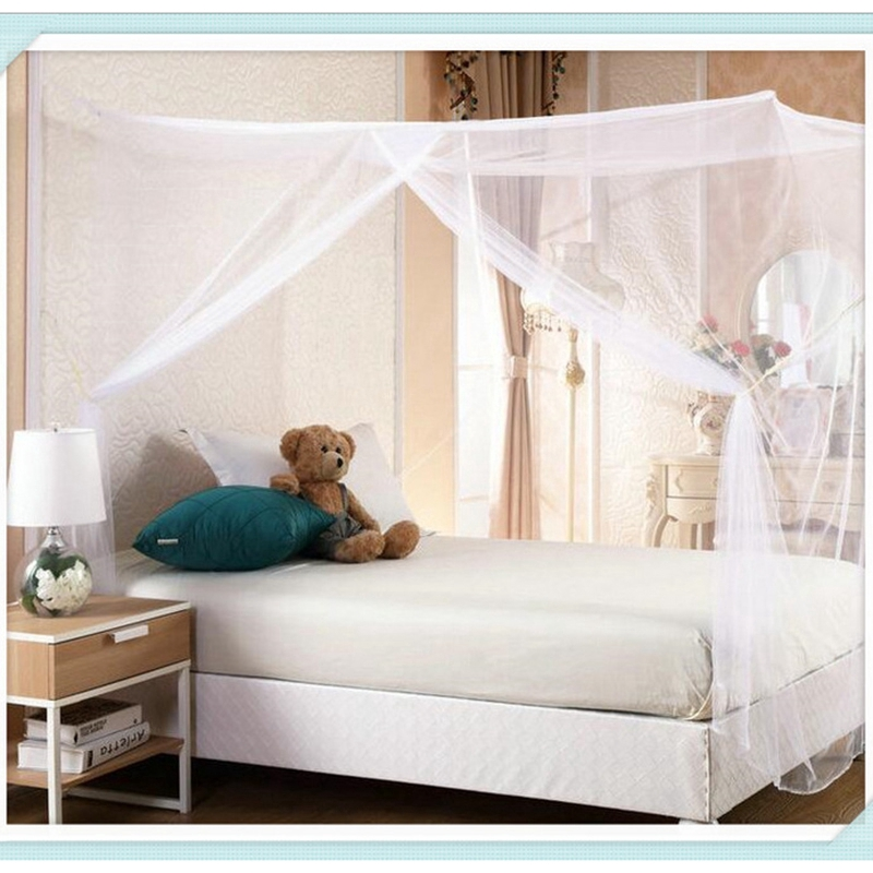 4 Corner Post Insect Bed Canopy Netting Curtain Mosquito Net Twin Full Queen New