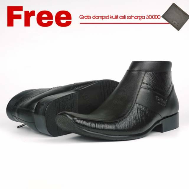Sepatu Boot Pantofel Pria Motif Cetak Kayu 0321 Model Pantofel Kulit Asli  7d12610945