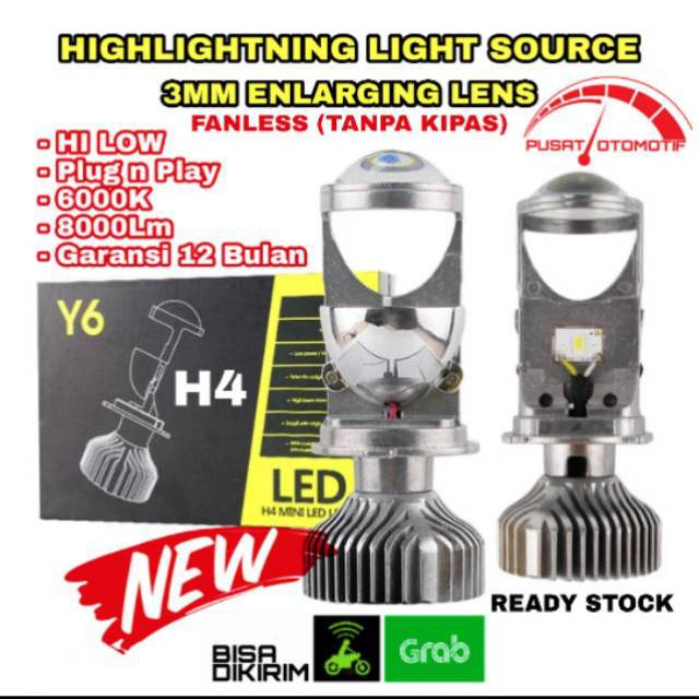 Lampu Led Y6 Mini Lensa Projector Headlamp Headlight Mobil H4 Hi Low 6000k Fanless Tanpa Kipas Shopee Indonesia