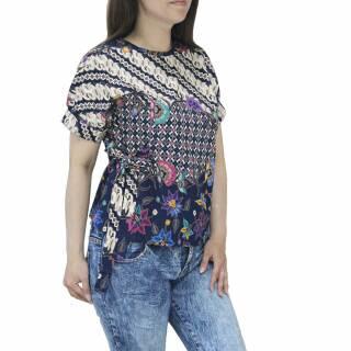 Batik La Atasan Blouse Batik Wanita Lengan Pendek Model Dasi Bahan