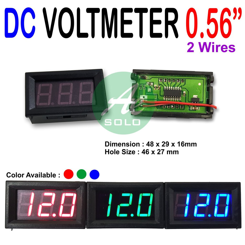 056 Voltmeter Digital 45 30v Dc Dengan Frame 2 Kabel Top Quality 036 4 32vdc Hijau Shopee Indonesia