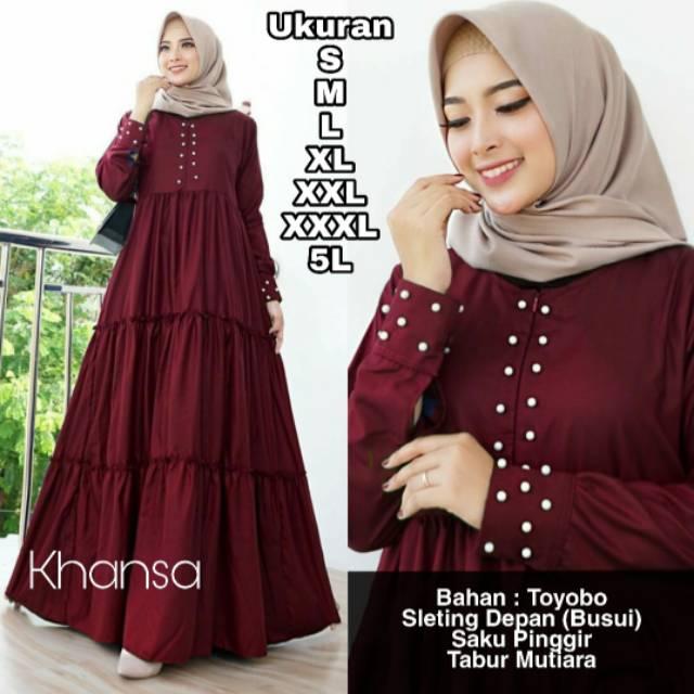 Khansa Dress Ukuran S M L Xl Xxl Xxxl 5l Baju Gamis Jumbo Dress Big Size Mutiara Butikjumbo Shopee Indonesia