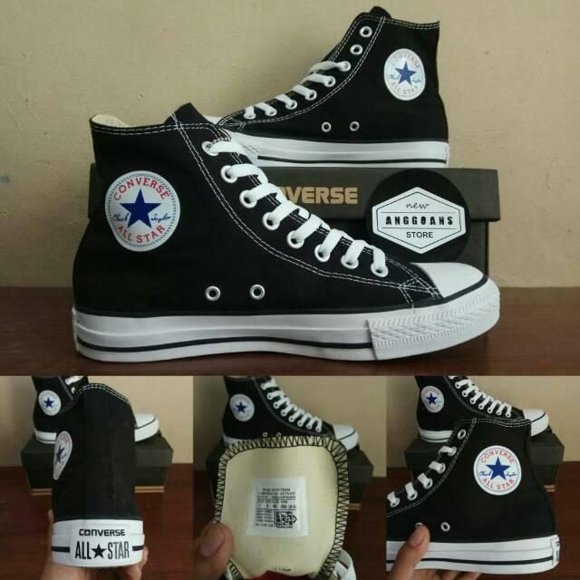 Sepatu Converse Chuck Taylor All Star Basic Classic Black White Hitam Putih  High - PREMIUM Original  510bd34019