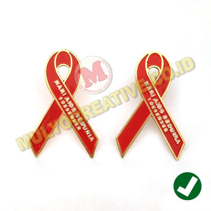 Bahan Hari Aids Sedunia Pin Hari Aids Sedunia Pin Bros Logo Hari Aids Sedunia Warna Merah Shopee Indonesia