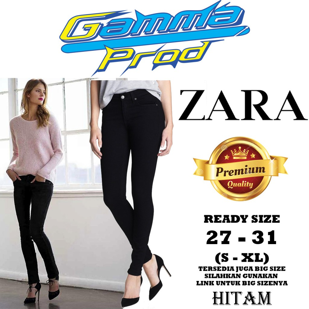 Celana High Waist Hw Soft Jeans One Button Wanita Black Premium Size 27 30 Skinny Shopee Indonesia