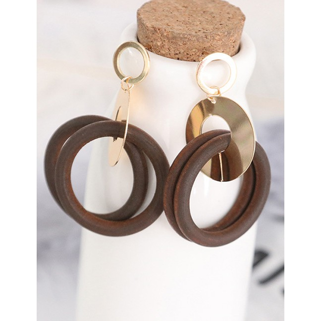 LRC Anting Tusuk Fashion Gold Color Circular Ring Shape Decorated Earrings | Shopee Indonesia