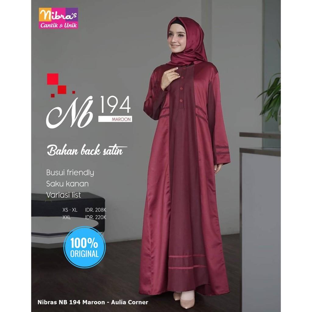 Gamis Batik Wanita Gemuk Terbaru Gamis Nibras NB 12 Maroon ORIGINAL Model  Paling Baru
