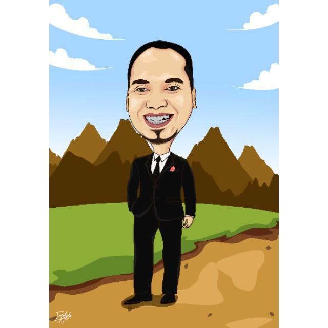 Desain Karikatur:  Desain Karikatur Untuk Kado Wisuda, Pernikahan Cetak A4