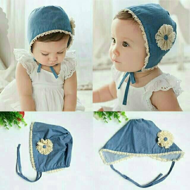 Topi bonnet blue Topi bayi topi anak topi bayi import baby hat topi bayi  noni top bonnet topi noni  15109b69b0