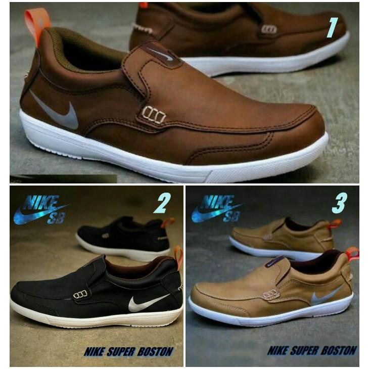 Sepatu Casual Slop Formal Kerja Pria Nike Boston Sepatu Santai Kuliah Keren   f4acb474e2
