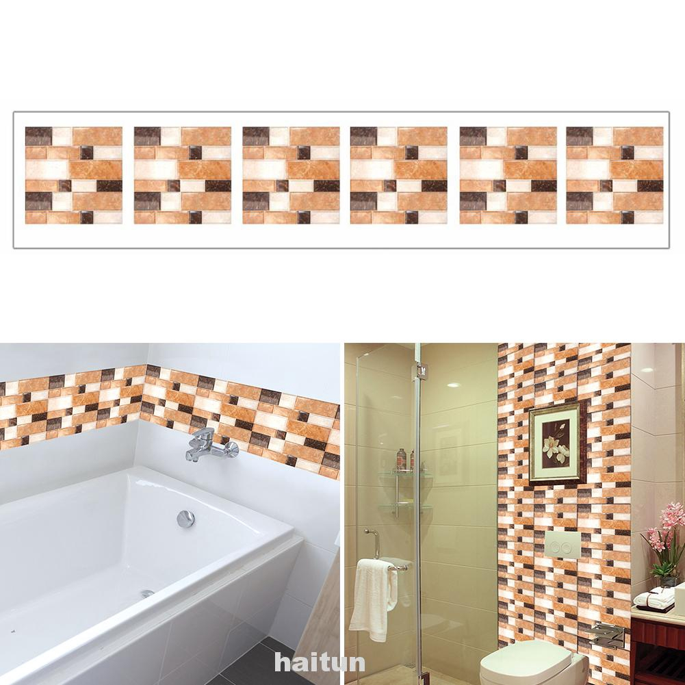 6pcs Tile Decor Home Living Room Dustproof Protective Mural Kitchen Wall Sticker Shopee Indonesia