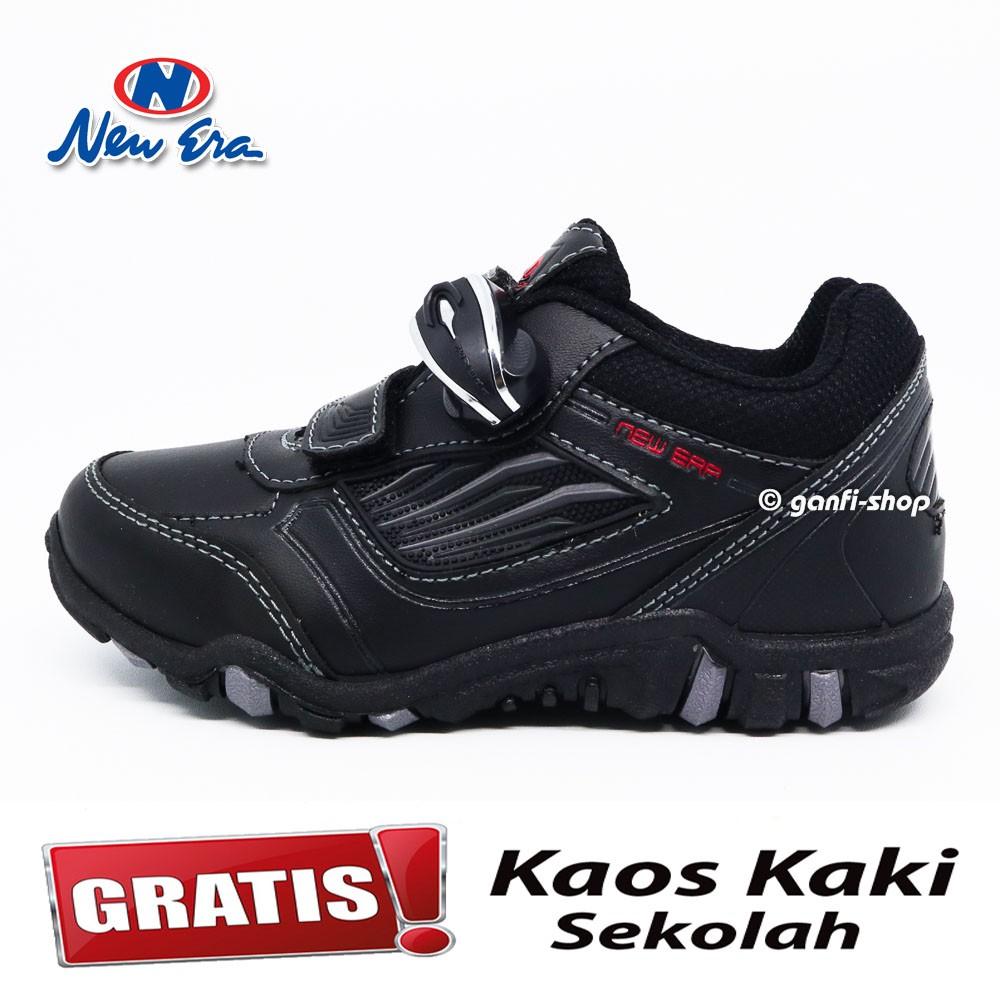 New Era New Calvin 01 Sepatu Anak Sepatu Sekolah Warna Hitam