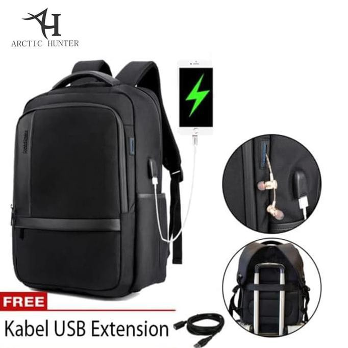 Arctic Hunter Tas Ransel Laptop Premium Executive Oxford Backpack Anti Air dan USB Support AH-