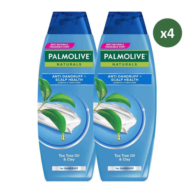 Palmolive Naturals Shampoo & Conditioner Anti Dandruff 180ml - Shampo Kondisioner (4pcs)-1