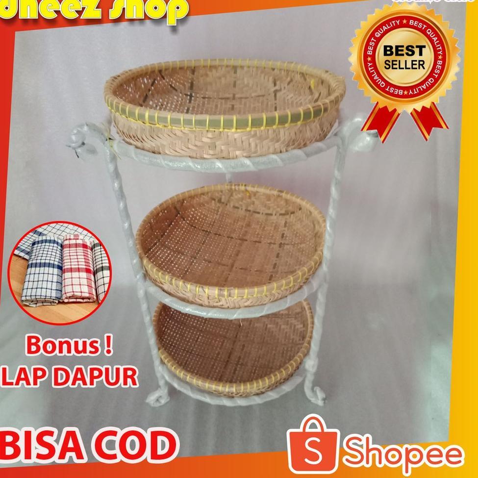 Tempat Bawang Murah-Rak Susun Bumbu Dapur-Rak Bawang-Rangka Besi-Rak Buah-Rak Susun Anyaman Bambu (K