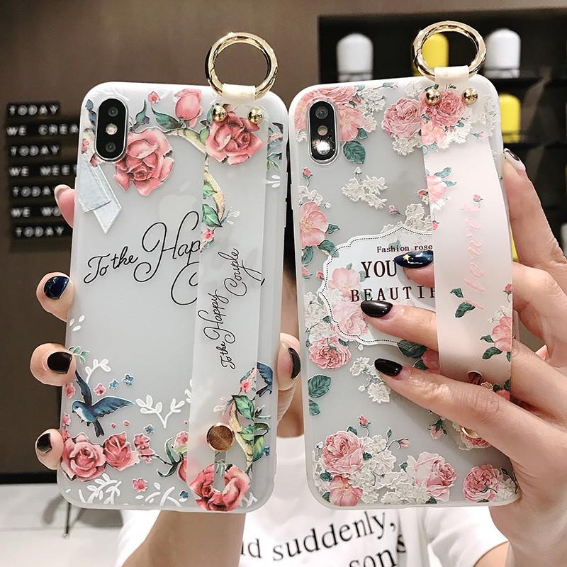 GNC| Samsung A50s A50 A20 A7 M20 A70 A30 S8 S9 Plus Note 8 9 S10 A10 A30s Soft Case Flower+Wristband
