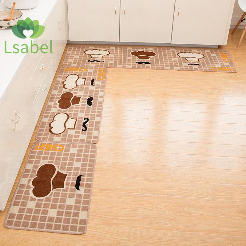 2PCS Kitchen Bathroom Carpet Absorbent Slip-resistant Doormats Area Rug Carpet