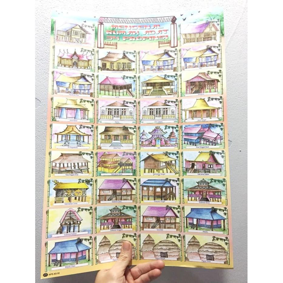 Pmnelt714 Mainan Poster Edukasi Anak Rumah Adat 34 Provinsi