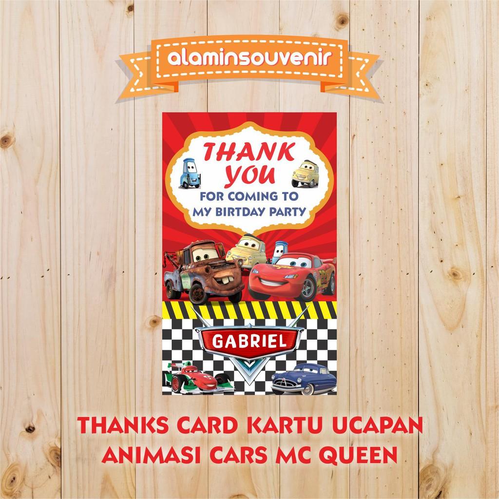 Thanks Card Kartu Ucapan Ulang Tahun Anak Custom Animasi Cars McQueen