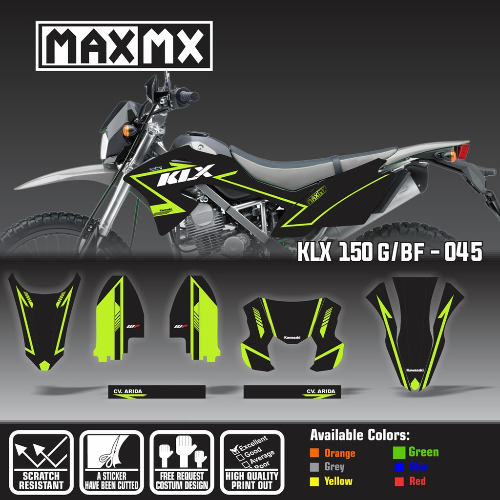 Decal stiker klx 150 bf dekal sticker striping two two custom full body klx 150 g bf 037 shopee indonesia